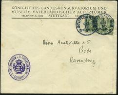 STUTTGART Nr.8 1910 (3.10.) 1K Auf 2x 5 Pf. Dienst, Vordr.-Bf.: KÖNIGL. LANDESKONSERVATORIUM U. MUSEUM VATERLÄNDISCHER A - Stamps