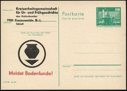 7980 Finsterwald N.-L. 1980 Amtl. P 10 Pf. Neptunbrunnnen , Grün + Amtl. Zudruck: Kreis AG Für Ur- U. Frühgeschichte ..M - Stamps