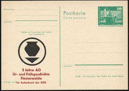 Finsterwalde 1980 Amtl. P 10 Pf. Neptunbrunnen , Grün +  Amtl. Zudruck: 5 Jahre AG Ur-u.Frühgeschichte (stilis. Keramik- - Stamps