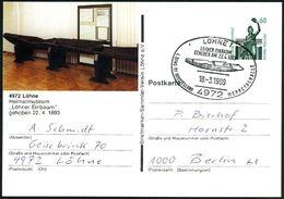 """4972 LÖHNE 1/ LÖHNER EINBAUM.. 1989 (18.3.) SSt = Prähistor. Einbaum (Schiff) Auf Motivgl. PP 60 Pf. Bavaria: """"Löhner Ei - Stamps"""