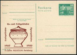 Perleberg 1980 Amtl. P 10 Pf. Neptunbrunnen , Grün + Amtl. Zudruck: Ur= U.Frühgeschichte, 75 Jahre MUSEUM (Bandkeramik-U - Stamps