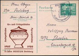 2910 PERLEBERG 1/ 75 Jahre Heimatmuseum 1980 (15.9.) SSt = (prä)-histor. Museum (Giebelfront) Auf Amtl. P 10 Pf. Neptunb - Stamps