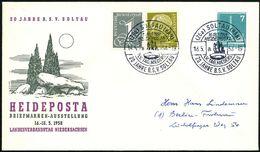 "(20a) SOLTAU (HAN)/ A/ HEIDEPOSTA.. 1958 (18.5.) SSt = Megalith-Steingrab 2x Auf Motivgl. PU 7 Pf. Funkturm: ""HEIDEPOSTA - Stamps"