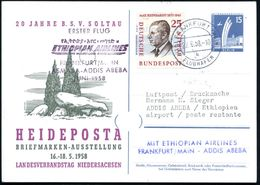 B.R.D./  BERLIN 1958 (22.6.) PP 15 Pf. Luftbrücke: HEIDEPOSTA = Prähistor. Steingrab (Dolmengrab) + Zusatzfrank. 25 Pf.  - Unclassified