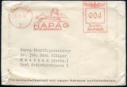 HAMBURG/ 1/ HAPAG/ MITTELMEERREISEN 1937 (27.12.) Seltener AFS = Sphinx, 3 Pyramiden , Klar Gest. Musterbeutel (inhaltsb - Stamps