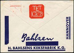 """HANNOVER / 1/ LEIBNITZ-/ KEKS/ 30 JAHRE/ TET PACKUNG/ H.BAHLSEN.. 1936 (27.5.) Jubil.-AFS = Tet-Packung Mit """"Tet""""-Hierog - Stamps"""