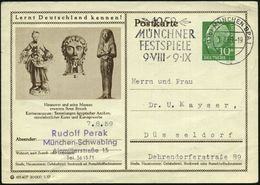 Hannover 1957 10 Pf. BiP Heuss I , Grün: Kestnermuseum: Altägypt. Pharao, Barbarossa-Reliquiar, Rokoko-Porzellanfigur (g - Stamps