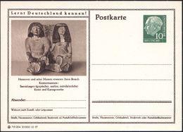 Hannover 1957 10 Pf. BiP Heuss , Grün: Kestnermuseum: Skulptur ägypt. Paar Mit Hieroglyphen, Ungebr. (Mi.P 24/295) - Stamps