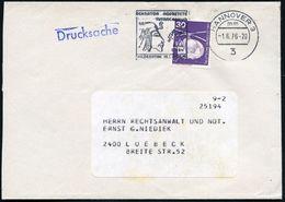 3 HANNOVER 3/ Mm #bzw.# Mo/ ECHNATON NOFRETETE/ TUTANCHAMUN/ ..15.7.-26.9. 1976 2 Verschied. MWSt (je Kopfbild) Je Auf B - Stamps