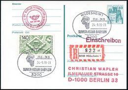 3200 HILDESHEIM 1/ SUMER/ ASSUR/ BABYLON 1978 (24.9.) SSt = Kopf Mit Geflochtenem Bart + RZ: 3200 Hildesheim 1/ At, Klar - Stamps