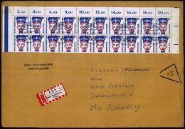 BERLIN 1989 (16.1.) 20 Pf. Nofretete, Reine MeF = Bogen-Rand-20er-Block! , Klar Gest. + RZ: 299 Oldenburg,/Oldb 1/a, Seh - Stamps