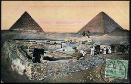 """ÄGYPTEN 1906 (9.12.) 2 M. Dauerserie """"Sphinx/Pyramide"""" , Gest. 1K-Steg: CAIRO/D Auf Seltener Bedarfs-Maximum-Übersee-Kt. - Stamps"""