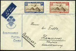 """ÄGYPTEN 1938 (11.4.) 20 M. U. 50 M. """"Pyramiden Von Gizeh"""" , Satzreine Frankatur (mit Cheops-Pyramide) Dekorat. Zierumsch - Stamps"""