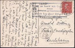 SCHWEDEN 1935 (24.2.) 1K-BPA: SJÖPOSTEXPEDITION 70/M-A/GRIPSHOLM = Sphinx U. Pyramide 2x (1x Nicht Ganz Voll) + Amtl. Hd - Stamps