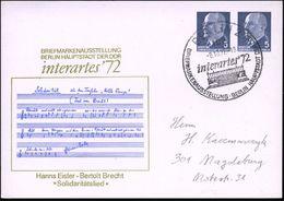 102 BERLIN 2/ Interartes '72.. 1972 (8.10.) Gesuchter SSt = Pergamon-Altar , Klar Gest. PP 5 Pf. + 5 Pf. Ulbricht: Inter - Stamps