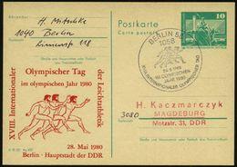1058 BERLIN 58/ XVIII.INT.OLYMPISCHER TAG/ IM OLYMPISCHEN/ JAHR 1980 (28.5.) SSt = Antike Olympia-Läufer Auf Amtl. P 10  - Stamps