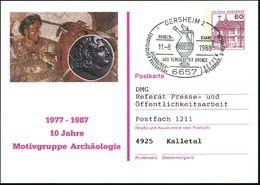 6657 GERMSHEIM 2/ ..ARCHÄOLOGEN-TREFFEN.. 1988 (11.8.) SSt = Antike, Vergoldete Bronze-Kanne Auf PP 60 Pf. Burgen: Alexa - Stamps