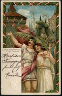 """NUERNBERG/ X.DEUTSCH./ TURNFEST 1903 (20.7.) Oval-SSt Auf PP 5 Pf. Wappen, Grün: No.3 """"Die Olympischen Spiele Im Festzug - Stamps"""
