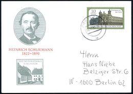 Neubuckow 1990 (2.10.) PP 10 Pf. Postmuseum: HEINRICH SCHLIEMANN 1822 - 1890 (= Brustbild Schliemann, Geburtshaus) Gest. - Stamps