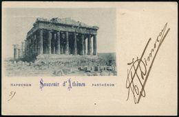 """GRIECHENLAND 1900 (25.10.) PP 10 L. Hermes, Rot: """"..Souvenir D'Atènes PARTHENON"""" (Ruine Des Parthenon) 1K: ATHEN 1, Klar - Stamps"""