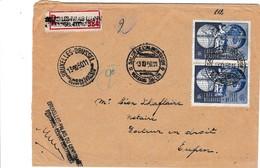 Postzegl 812 In Dubbel Op Brief . Aangetekend Met R Brussel-Eeuwfeestpaleis. Zeer Mooi. Zie Ook Scan Achterzijde. - Entiers Postaux