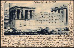 GRIECHENLAND 1901 (4.4.) 5 L. BiP Hermes, Oliv: Korenhalle Des Erechtheion + Zusatzfrank. 5 L. Hermes (Mi.78), Ausl.-Kt. - Stamps
