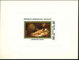 """MADAGASKAR 1986 50 + 10 Fr. FMG """"Danaé"""", Ungez. Ministerblock = Mutter Des Perseus, Von Zeuss Als Goldregen Geschwängert - Stamps"""
