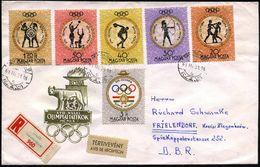 """UNGARN 1961 (März) XVII. Sommerolympiade: Griechische Olympiakämpfer, Gez. Satz Sauber Gest. Ausl.-R-SU. """"Rückschein""""  ( - Stamps"""