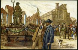 Bamberg 1914 (Juli) PP 5 Pf. Hupp-Wappen, Grün: Grüner Markt Mit Neptun-Brunnen (und Hund Etc.) Anschriftenseitig Schwac - Stamps