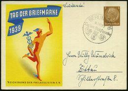 """BERLIN SO 16/ C/ Tag D.Briefmarke 1939 (8.1.) SSt (RdPh-u. DAF-Logo, Wappen) Auf Sonder-P 3 Pf. """"TAG DER BRIEFMARKE"""" = M - Stamps"""