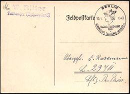 BERLIN/ TAG DER BRIEFMARKE/ B/ GDS 1943 (10.1.) SSt = Merkurkopf Klar Auf Feldpost-Kt. An Fp.Nr. L. 29711 (= Flak-Abt. 4 - Stamps