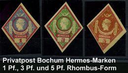 """Bochum 1887 Privatpost """"Privat Brief Verkehr Bochum"""" Rhombus-Marken """"Hermeskopf"""" 1 Pf., 3 Pf. U. 5 Pf. Ungez. , Alle Ung - Stamps"""