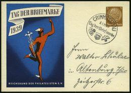 CRIMMITSCHAU/ Tag Der Briefmarke/ RdPh/ WHW 1939 (8.1.) SSt Auf Sonder-P 3 Pf. Hindenbg.: Tag D. Briefmarke = Merkur (bl - Stamps