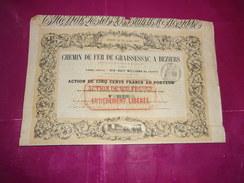 CHEMIN DE FER DE GRAISSESSAC A BEZIERS (1853) - Shareholdings