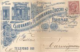 FIRENZE - DITTA GIOVANNI E FERDINANDO ZOCCHI CONSERVE FRUTTA ALIMENTARI - CARTOLINA COMMERCIALE - VG 1909 - Firenze