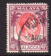 Malaya Malacca 1949-52 GVI 40c Red & Purple Definitive, Used, SG 13 - Malacca