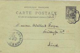 Entier Carte Postale Type Sage Utilisée 1897 Avec Cachet Convoyeur Constantine à Biskra . Cachet D'arrivée à Munich . - Other