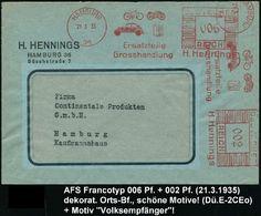 HAMBURG/ 36/ Ersatzteile/ Grosshandlung/ H.Hennings 1935 (21.3.) AFS 002 + 006 Pf. = 2 Abdrucke! = Motorrad (u. PKW, Fah - Unclassified