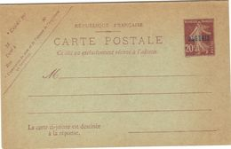 Entier Carte Postale Semeuse 20 Cts . Réponse Payée . Date 431 Sur La Carte Réponse . - Sonstige