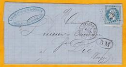 1868 - LAC De Burlats BM Castres, Tarn Vers St Dié, Vosges - Affrt 20 C YT 29 - Convoyeur - 1849-1876: Klassik