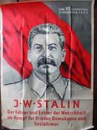 AFFICHE PROPAGANDE 70 ANS STALINE 1949 DDR URSS GUERRE FROIDE ALLEMAGNE EST RUSSIE COMMUNISME STALIN SOZIALISMUS - Posters