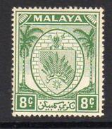 Malaya Negri Sembilan 1949-55 Coat Of Arms 8c Green Definitive, Hinged Mint, SG 49 - Negri Sembilan