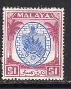 Malaya Negri Sembilan 1949-55 Coat Of Arms $1 Blue & Purple Definitive, Hinged Mint, SG 60 - Negri Sembilan