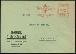 "(DRESDEN A 24)/ Hitler Jugend/ Gebiet 16 (Sachsen)/ Dresden 1940 (30.10.) Seltener AFS ""Hakenkreuz""  O H N E  Ortsstempe - Stamps"