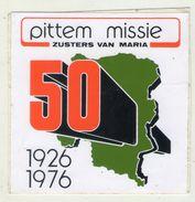 AUTOCOLLANT . STICKER . PITTEM  MISSIE . ZUSTERS VAN MARIA . 50 ANS . 1926  1976 .  BELGIQUE . PITTEM - Autocollants