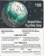 CANADA - Globe, SCS International Prepaid Card $20(1-800-476-1235), Exp.date 31/12/97, Used - Canada