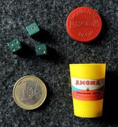 Ancien Jeu Publicitaire POT De MOUTARDE AMORA : Dés 421 Miniature Pot AMORA Rouge & Bleu Années 60 - Jeux De Société