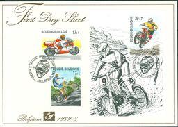 Belg. FDS 1999-8 OBP/COB 2819/20 + Bl 79(2821) - Sport Motos - FDC