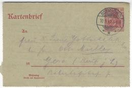 B358 Deutsches Reich Ganzsache 1912 Kartenbrief K 14 GERMANIA10 Pf. Handstempel Bornhöved Nach Gera - Deutschland