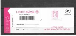 "FRANCE 2016   MARIANNE DE CIAPPA-KAWENA  TIMBRE AUTOADHESIF NEUF PRO . "" LETTRE SUIVIE "".Y&T: N° 1217A - 2013-... Marianne Di Ciappa-Kawena"